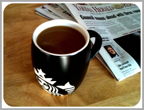 Coffee, Newspaper, Starbucks, Morning Routine