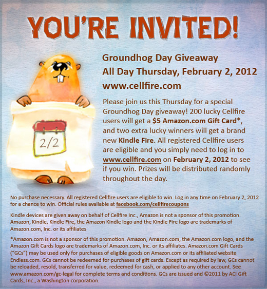 Groundhog Day, Giveaway, Amazon, Kindle Fire, Coupons