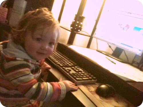 toddler at computer