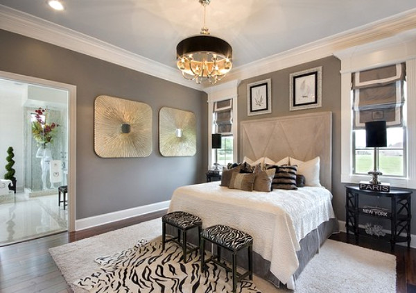 master bedroom in shades of grey