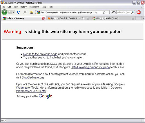 malware warning from Google