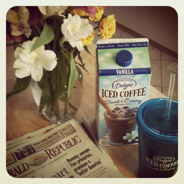 morning routine with iced coffee
