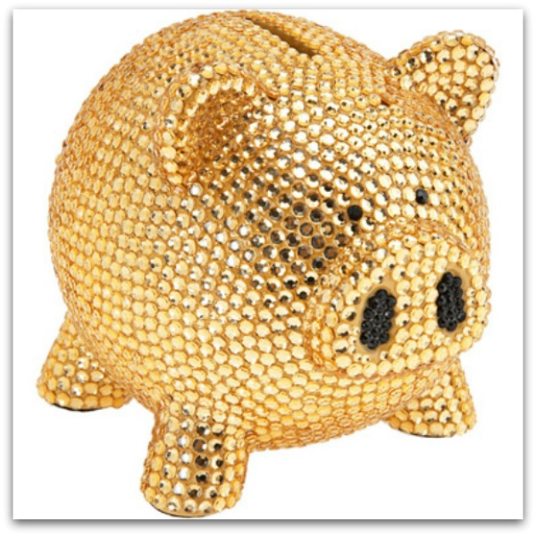 Rhinestone blinged out ceramic piggy bank