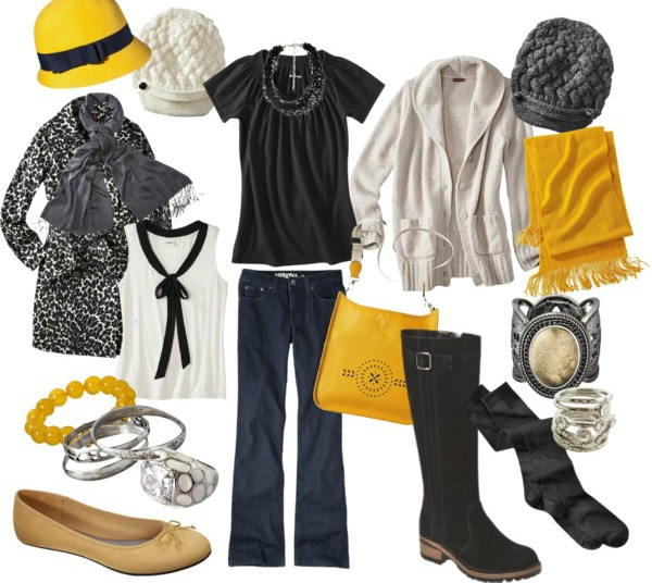Winter Fashion - Layer it up with yellow and grey