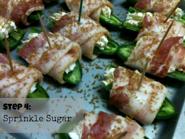 Sprinkle jalapeno poppers with brown sugar