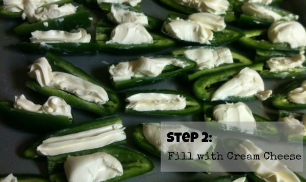 Stuff jalapenos with cream cheese