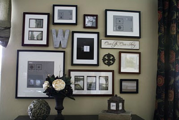 Wall gallery with framed photos