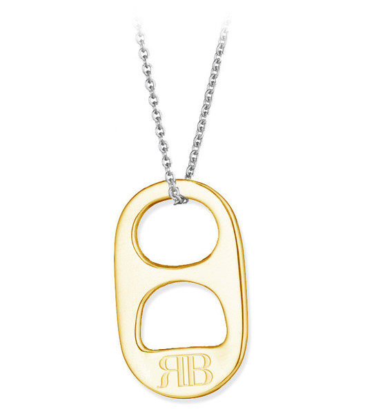 14k yellow gold soda tab necklace