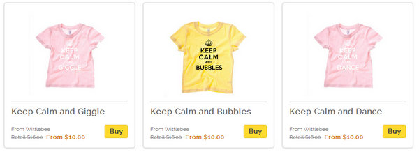 Keep Calm tshirts for kids