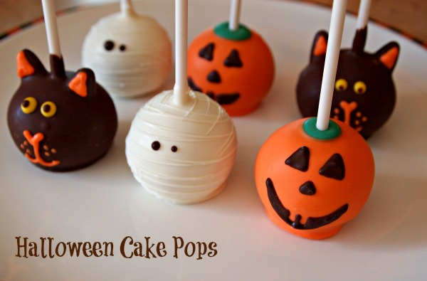 Halloween Cake Pops - mummy cake pops, pumpkin cake pops, cat cake pops