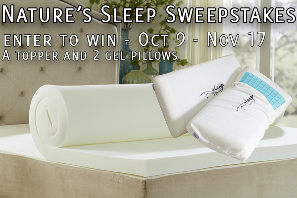 Win a Nature's Sleep Memory Foam Mattress Topper and Two Gel Pillows!