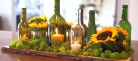 Simple DIY Centerpiece on a Budget - using wine bottles! Tutorial