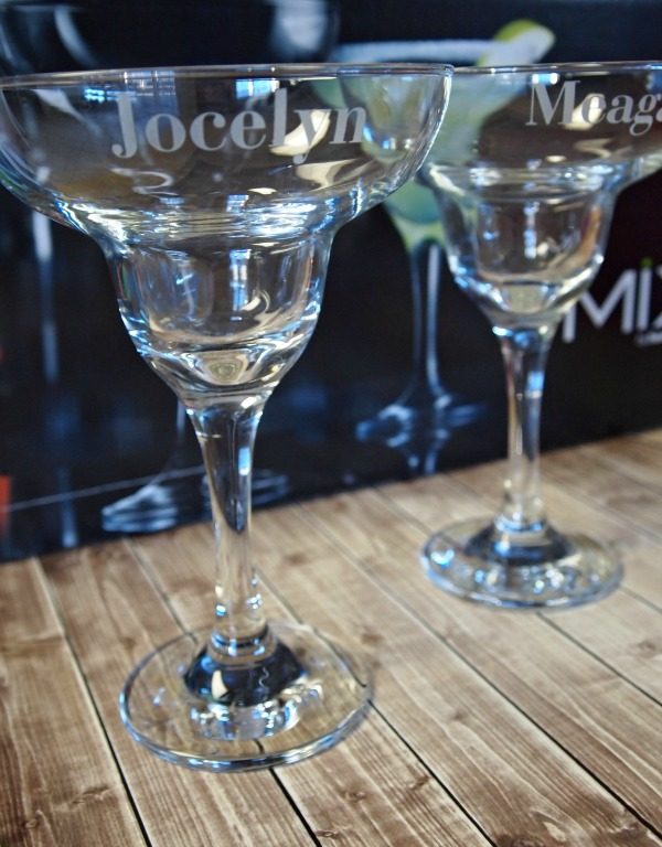 Personalized margarita glasses