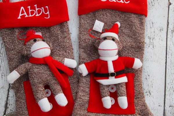 Sock monkey stockings and ornaments