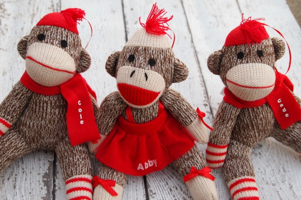 Sock monkey ornaments - with the kid's names on them!