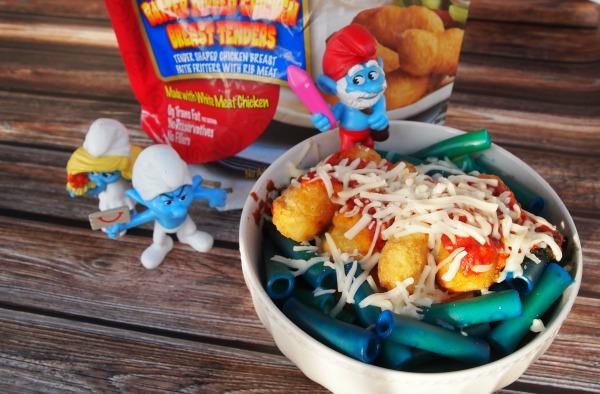 """Smurf party food - Chicken """"Papa Smurf-esan"""" Pasta"""