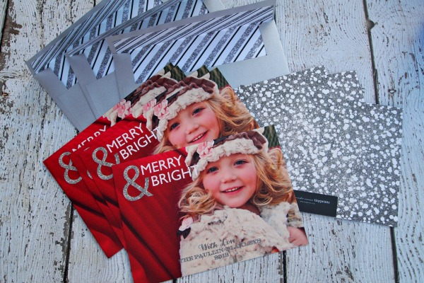 Tiny Prints sparkling holiday cards and envelopes