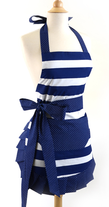 Blue striped spring apron
