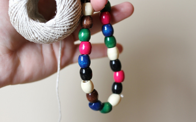 Creating beaded necklaces - DIY beaded lamp