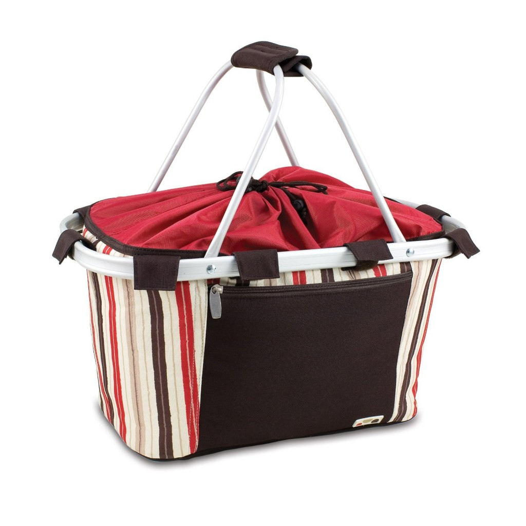 Collapsible Picnic Basket with Stripes