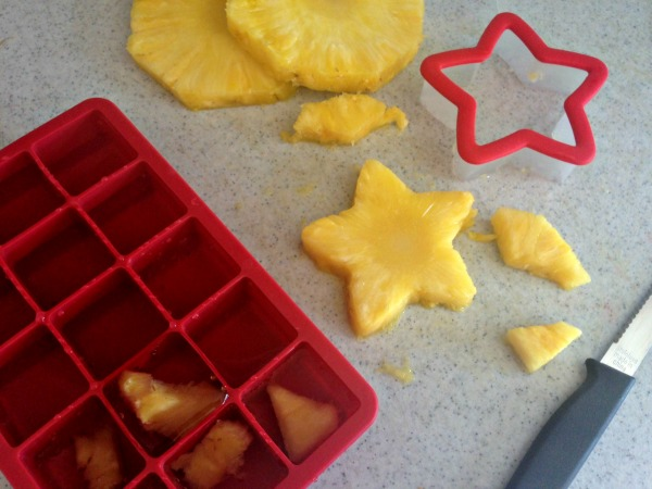 Making Pineapple Ice Cubes
