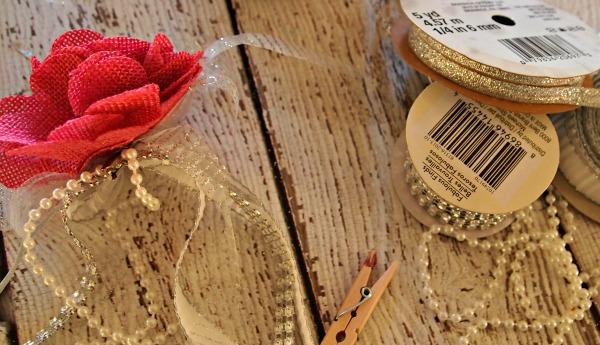 Making a fabric flower topper for mason jar craft