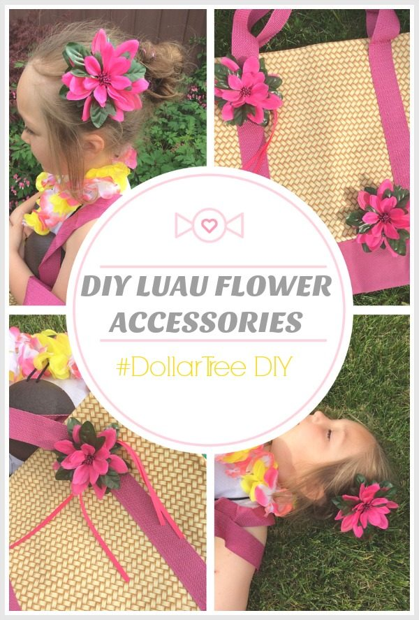 DIY Luau Flower Accessories - #DollarTree DIY